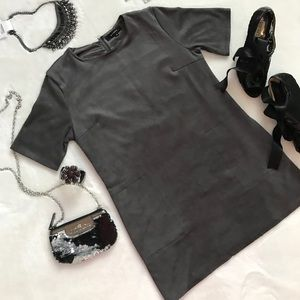 Olivaceous Gray Faux Suede Mini Dress Medium